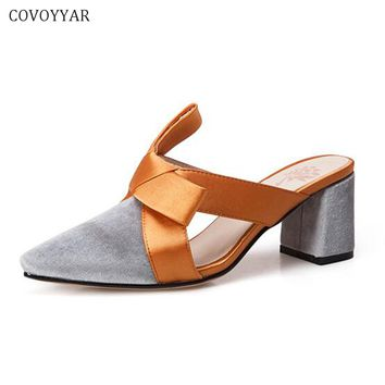 COVOYYAR 2018 Chic Contrast Color Women Shoes High Heeled Slippers Thick Heel Pointed Toe Bow Mules Elegant Cut Out Slides WSL13