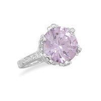 Silver Plated Brass Lavender CZ Fashion Ring with Clear Crystals