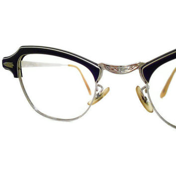 50s Eyeglasses Black Horn Rimmed 12K GF Glasses by TheRetroStudio