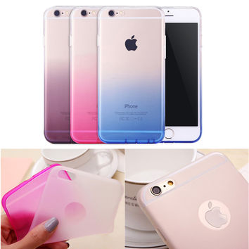 Phone Cases for Apple iPhone 6 6s Case Transparent Gradient Color Design TPU Silicon Covers Shell Capa 4.7inch Phone Accessories