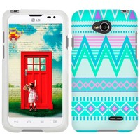 LG Optimus L70 Aztec Andes Tribal White and Teal Pattern Phone Case