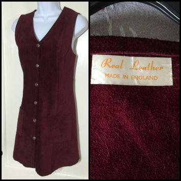 Vintage 1960's Burgundy Purple suede leather Mini Dress looks size Medium made in England snaps down the front 2 pocket sleeveless