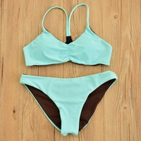 Double Bikini Mint Green Sexy Swimsuit Halter Swimwear