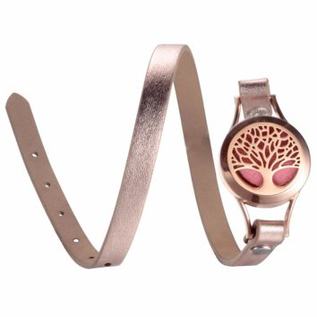 EVERLEAD Wrap Bracelets for Women Rose Gold Color tree of life leather locket bracelet aromatherapy perfume diffuser bangle