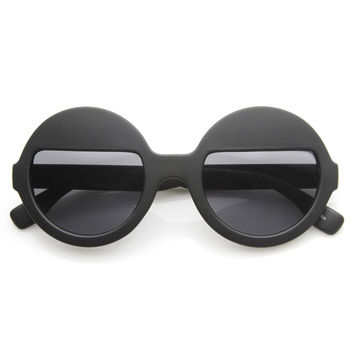 Womens Trendy Fashion Eyelid Half Lens Round Sunglasses 9159