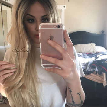 Natural blonde ombre loose wave hair wig for women dark root black/blonde synthetic lace front wig premium heat resistant hair