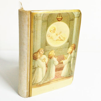 Childs Prayer Book, Antique Bible, Catholic, Youth Bible, Religious Item, 1922, Antique Book, Childrens Bible, Vintage, With Crucifix