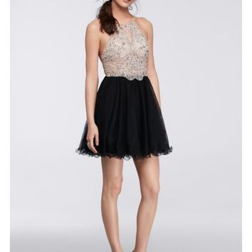 Short Halter Homecoming Dress with Beaded Bodice - Davids Bridal