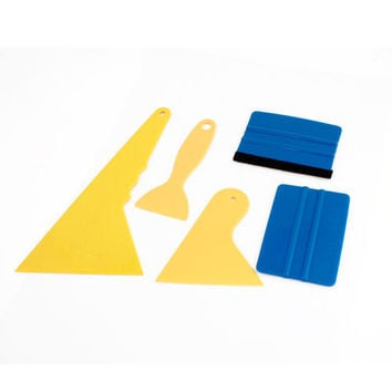 Unique Bargains 5PCS Yellow Blue Plastic Window Wrapping Film Tint Installation Scraper Tool