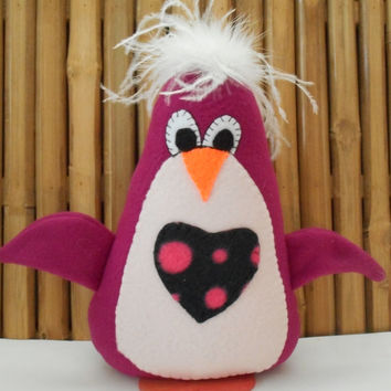 Penguin plushie, Christmas penguin, feathered penguin, standing penguin, Xmas decoration, holiday decor,Christmas decoration, holiday decor