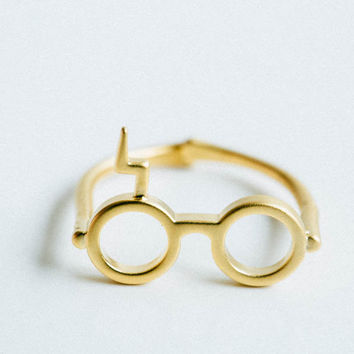 gold matt Harry Potter glasses ring,ring,harry potter jewelry,geekery,glasses ring,lightning ring,Harry Potter Ring,,handmade,cute ring