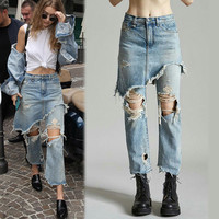 Cropped Flare Distressed Jeans