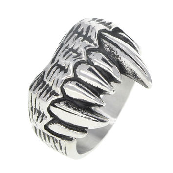 Dear Deer Stainless Steel Vampire Wolverine Teeth Ring