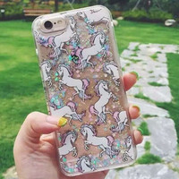 2015 New Arrival Dynamic Bling Cute Unicorn Bling Liquid Quicksand Star Glitter Funda Cover for iPhone 5 5S 6 6Plus Case Coque