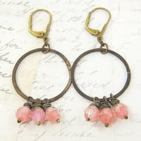 Pink Beaded Earrings - Rustic Brass Hoop Rose Dangle Dark Metal Under 25 for Her