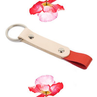 Red Leather Keychain, Handmade, Nickel Plated, Red and Natural Leather Key Fob