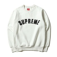 SUPREME Fashion Casual Long Sleeve Sport Top Sweater Pullover Sweatshirt White