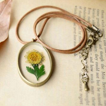 Original Handmade Natural Sunflower Flowers Long Necklaces Pendants For Women Retro Style Jewelry
