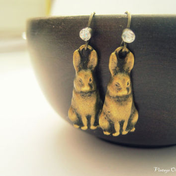 Vintage Bunny Earrings, , Bunny Earrings, Easter Bunny Earrings, Antiqued Bronze Vintage Easter Bunny,Chocolate Bunnies