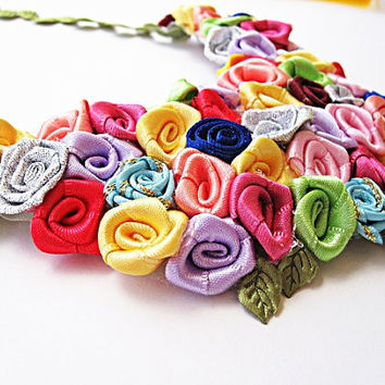 Flower Bouquet Colorful Necklace by mediterraneangirl on Etsy