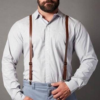 Brown Leather Skinny Suspenders