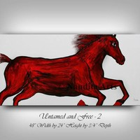 """Animal, Red Horse Painting Abstract Horse Art Stallion painting Oil Painting original Painting on Canvas Wall Art by Nandita 48x24""""/122x61cm"""