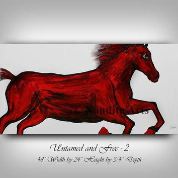 "Animal, Red Horse Painting Abstract Horse Art Stallion painting Oil Painting original Painting on Canvas Wall Art by Nandita 48x24""/122x61cm"