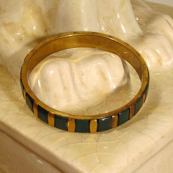 Green Gold Bracelet Bangle 60s Gypsy Boho Vintage Jewelry Accessories - FREE SHIPPING
