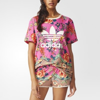 """Adidas"" Women Fashion Casual Multicolor Pattern Print Short Sleeve Short Sleeve"