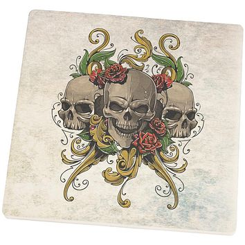 Skulls and Roses Tattoo Square Sandstone Coaster