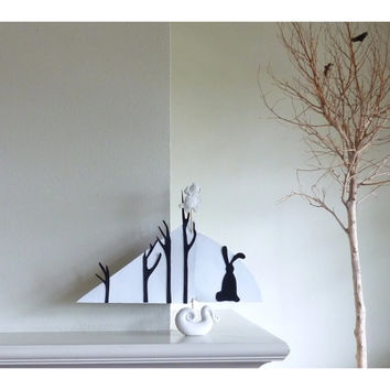 Stylized Sailboat, Minimalistic Sculpture Artwork: Rabbit and the Forrest
