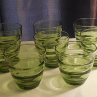 Vintage Retro Drinking Glasses  Set Of 8 Waterfall Avocado