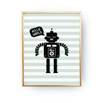 Robot Print, Kids Print, Boys Bedroom Poster, Nursery Decor, Playroom Decor,Robot Poster, Baby Print Art, Wall Decor, Kids Room Decor, 11x17