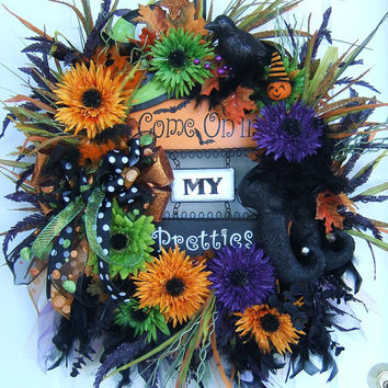 XXL Halloween Fall witch wreath door wreath floral by slkbaxt64