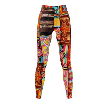 Traditional Textile-Quilt Artwork Printing Leggings