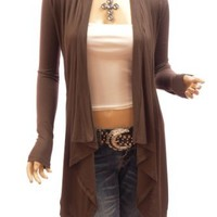 PattyBoutik Women's Drape Front Asym Hem Light Cardigan (Medium Brown M)