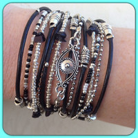 Boho Chic Black Leather Evil Eye WRAP BRACELET with Silver Accents, Evil Eye Jewelery, Endless wrap bracelet, triple wrap bracelet