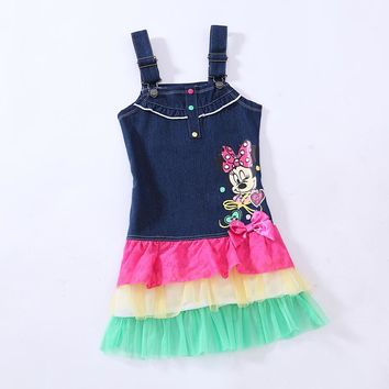 2017 New Fashion Minnie mouse girl girls kids sleeveless summer pink and white dress dresses 4-7T RT10