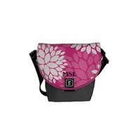 Pink White Floral Pattern Courier Bag