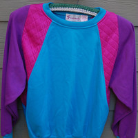 Vintage 80s Aqua Purple Fuchsia Quilted Colorblock Slouchy Sweatshirt Size Medium