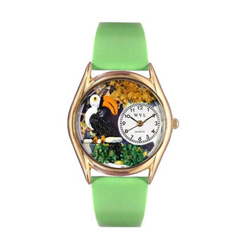 Whimsical Watches Healthcare Nurse Gift Accessories Toucan Green Leather And Goldtone Watch
