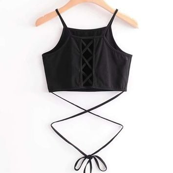 Criss Cross Back Crop Cami Top