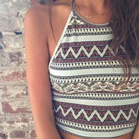 Print Round Neck Strapless Dress