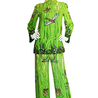 1960s Novarese Attr. Dragon Fly & Floral Sequin Silk Pant Suit