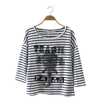 Vintage Alphabet Stripes Print T-shirts Bottoming Shirt [4918279620]