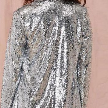 HDY Haoduoyi Long Autumn Cardigan Fashion coat Turn-down Collar Sleeve bomber jacket casaco mujer Women Silver Sequined