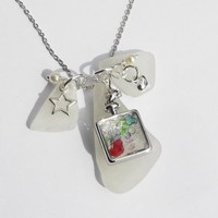Sea Glass Cluster Necklace with Wish Bottle