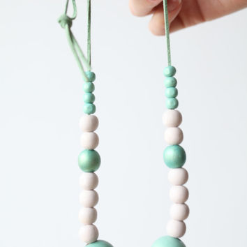 Nude, white and mint extra large necklace, chunky wooden beads, pastel OOAK necklace, wood hand painted pastel necklace