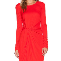 Halston Heritage Long Sleeve Jersey Dress in Red