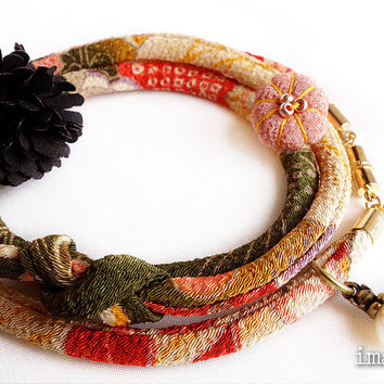 Kimono Anklet, Bracelet, Japanese chirimen wrapping jewelry, Dark yellow Matcha green- HANA MORI - Thicker width 【L size】